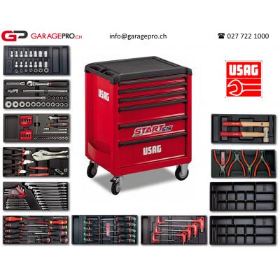 Servante d'atelier USAG start par Garagepro.ch avec vue sur la caisse à outil et l'ensemble des outillages